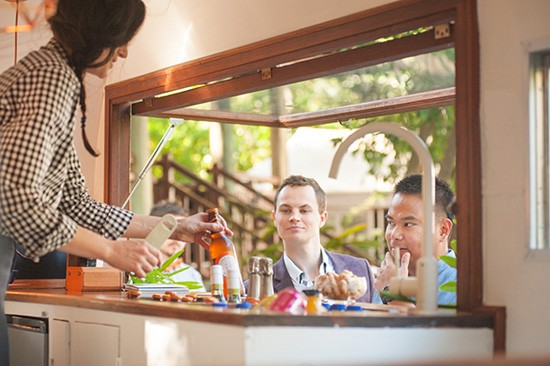Vintage caravan bar wedding