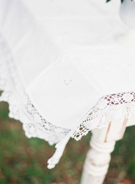 Vintage tablecloth at wedding ceremony