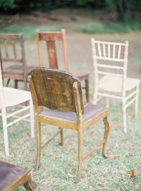 Vintage wooden ceremony chairs