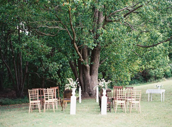 Wedding ceremony under tree
