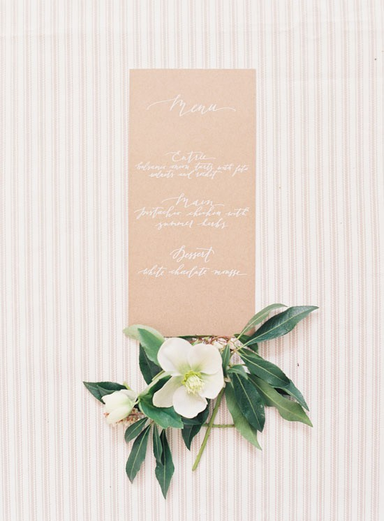 Wedding menu with white calligraphy