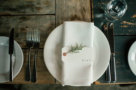 Wedding place card with rosemary