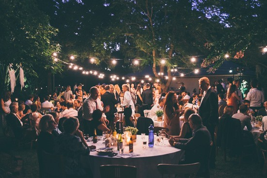 Wedding reception with string lighting