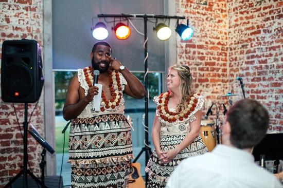 Wedding speech with bride and groom in fijian dress