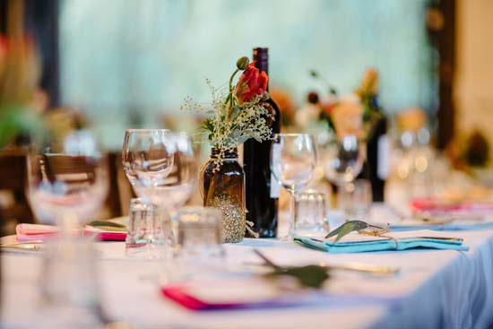 Wedding tablescape with coloured napkins
