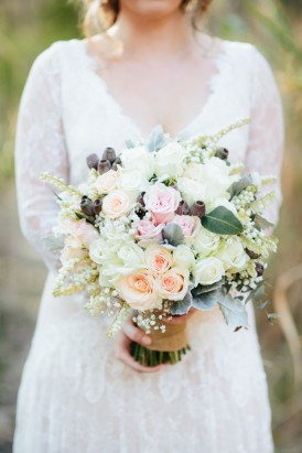 White bouquet with peach and pink roses