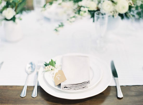 Wooden table with white for wedding