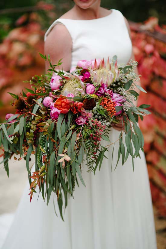 eucalypt leaves bouquet with pink flowers