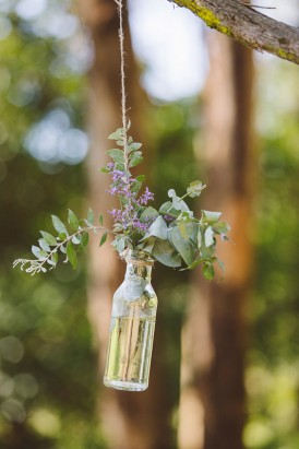 Hanging botle of flowers
