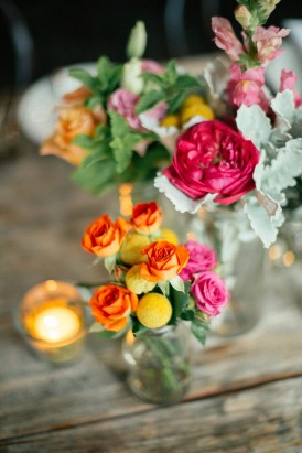 orange roses with red at wedding