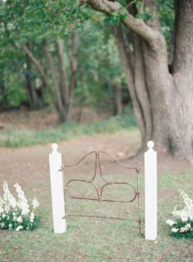 rusted gate ceremony backdrop