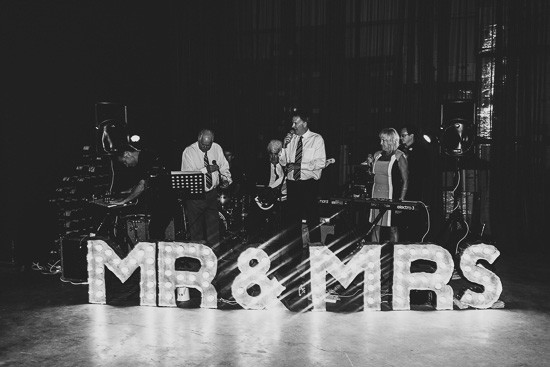 Band with Mr and Mrs Marquee Lights