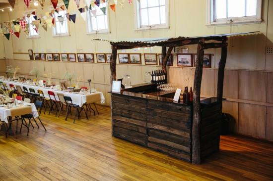 Bar at country wedding