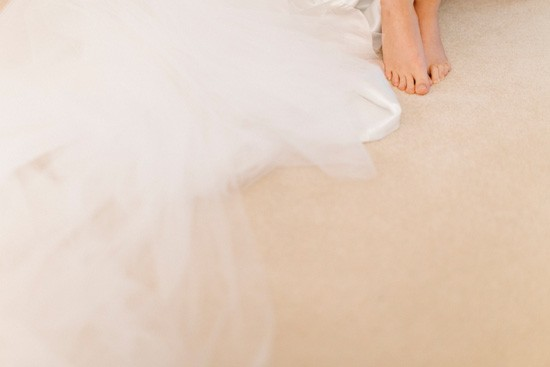 Barefoot bride with dress