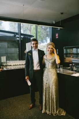 Bride and groom at Cafe Vue Heide