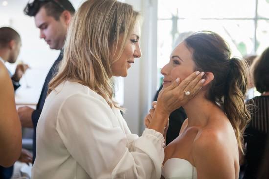 Bride being congratulated