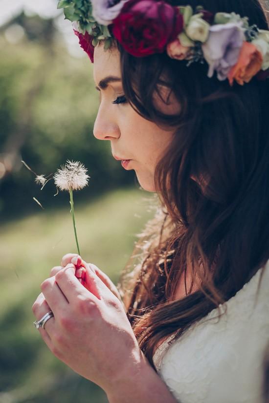 Bride blowing dandelion