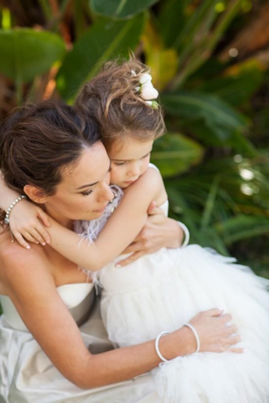 Bride hudding flowergirl