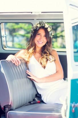 Bride in Kombi Van
