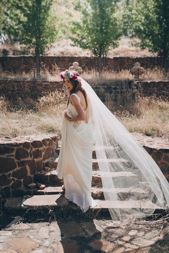Bride in corston couture with long veil