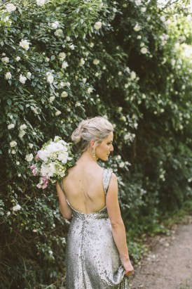 Bride in silver sequin gown