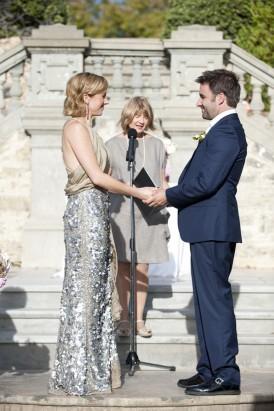 Bride in silver sequins