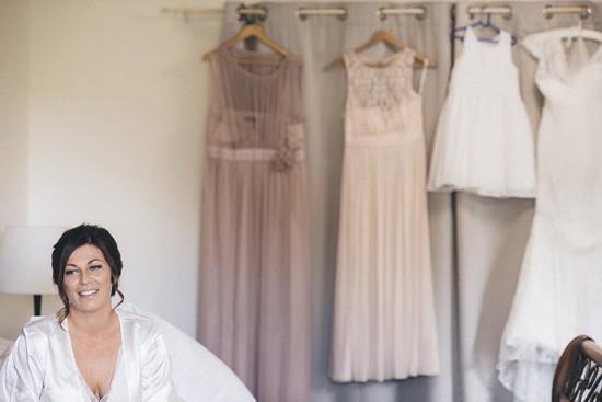 Bride in white silk robe