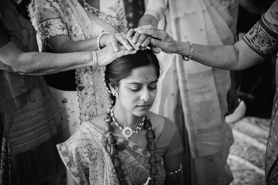 Bride receving Indian blessing