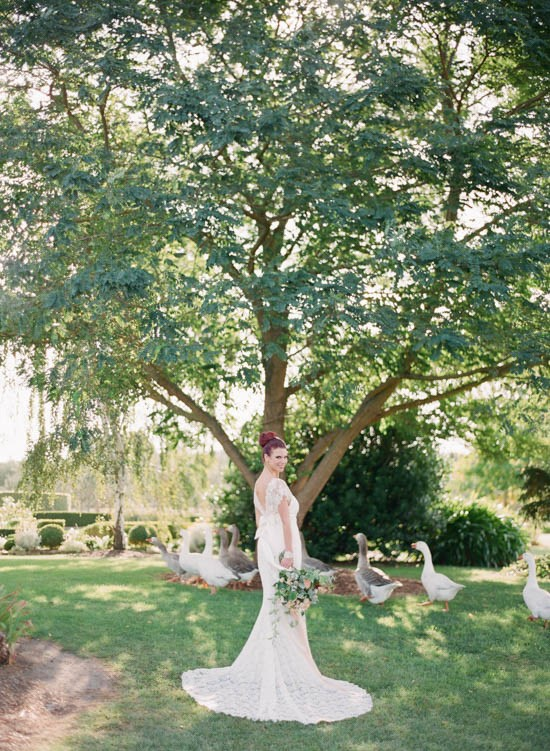 Bride wearing Anna Campbell lace dress
