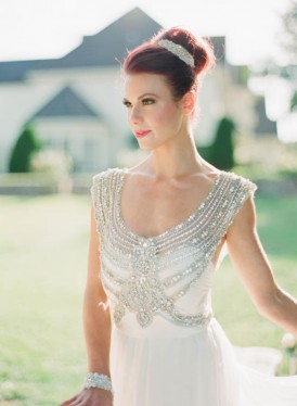Bride with Anna Campbell silver beaded gown