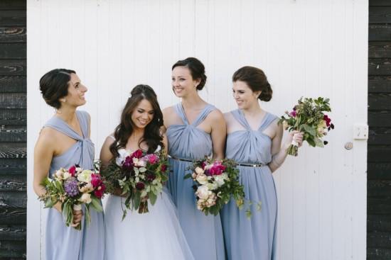 Bride with bridesmaids in blue