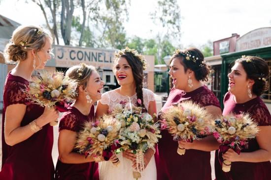 Bride with bridesmaids in marsala