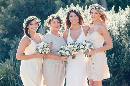 Bride with bridesmaids in shades of taupe