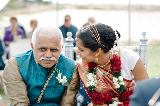 Bride with father at Indian Wedding