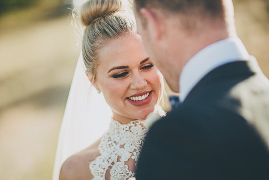 Bride with hair in bun