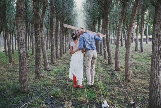 Bride with red gumboots