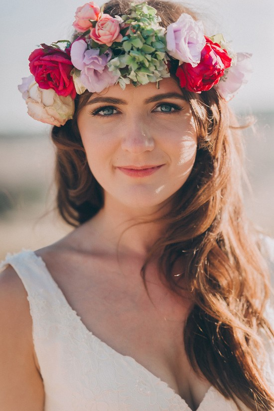 Bride with red lilac and green flower crown