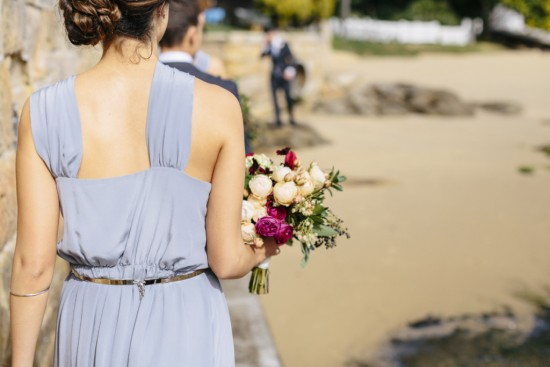 Bridesmaid in cornflower blue dress