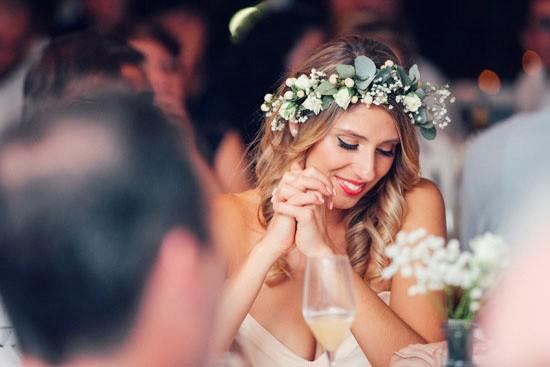 Bridesmaid with greeneyr crown