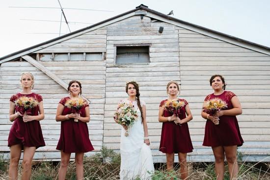 Bridesmaids in raisin dresses