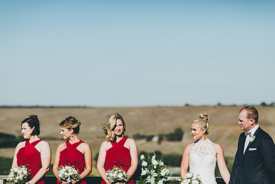 Bridesmaids in raspberry red