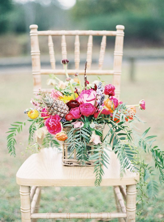 Bright summer wedding flower arrangement