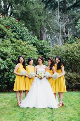 Buttercup yellow bridesmaid dresses