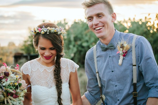 Country wedding newlyweds