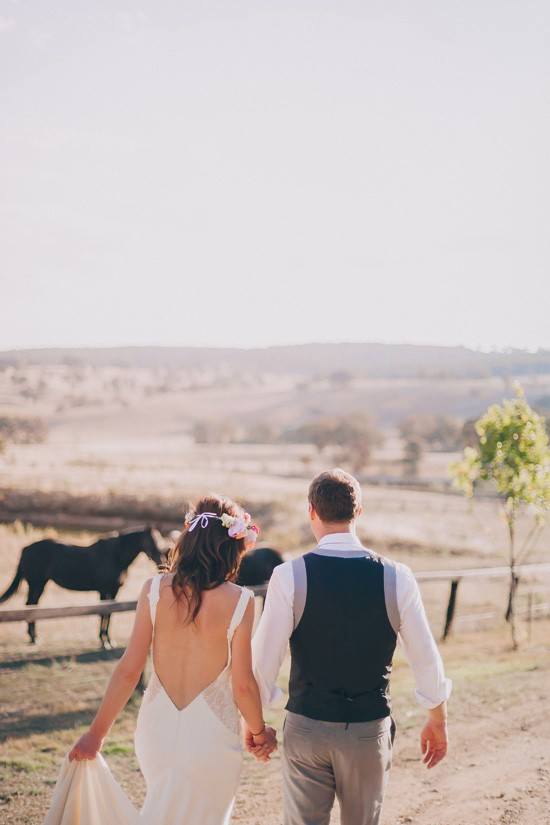 Country wedding photo with horse