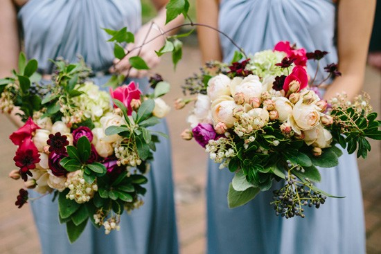 Cream and hot pink bouquets with greenery
