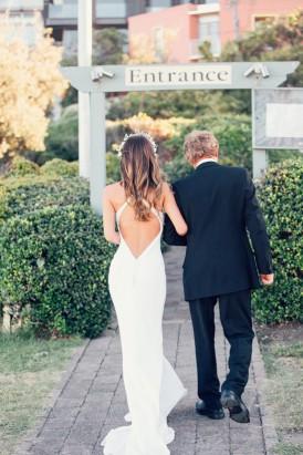 Cross backed wedding gown