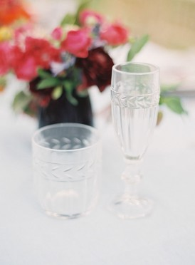 Crystal glassaware at wedding