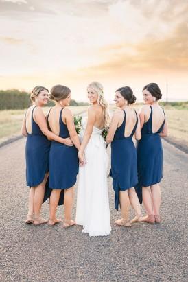 Denim Blue Bridesmaid Gowns