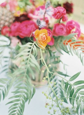 Fern and pink flowers at Summer wedding